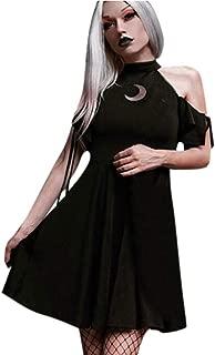 Women's Dress Gothic Punk Black Moon Hollow Out Vintage Short Sleeve Cold Shoulder Dresses