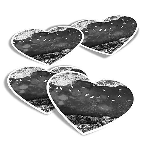 Pegatinas de vinilo con forma de corazón (juego de 4) – BW – Yates Boats Sailing Francia Ocean Sea Fun Calcomanías para portátiles, tabletas, equipaje, reserva de chatarra #43790