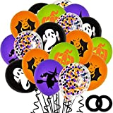 62PCS Halloween Party Balloons Decorations, 12 Inch Black Orange Purple Green Confetti Balloons for Kids Halloween Birthday Bachelorette Party Decorations Supplies