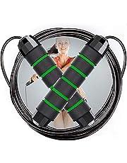 NOCHME Springtouw voor volwassenen, tieners, vrouwen, mannen, in lengte verstelbaar, raakt niet in de knoop, met pvc bekleed stalen touw, springtouw voor workout, boksen, vetverbranding, crossfit, MMA