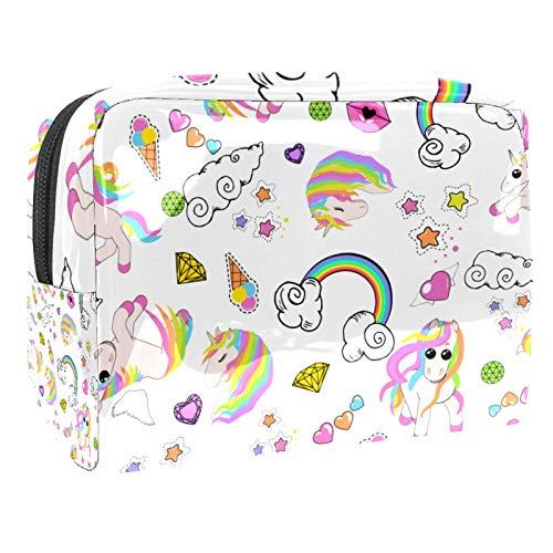 Makeup Bag Toiletry Bags Cosmetics Organizer Zipper Pouch for Women Pattern Unicorns Rainbow Heart Wings Stars