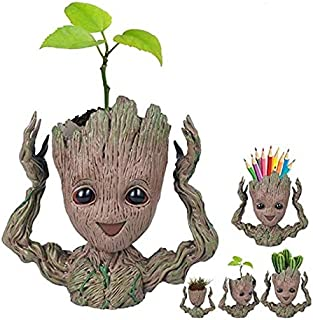Baby Groot Flowerpot Tree Man Planter Flower Pot with Drainage Hole Pencil Pen Holder,Diligencer Office Party Ornament Chr...