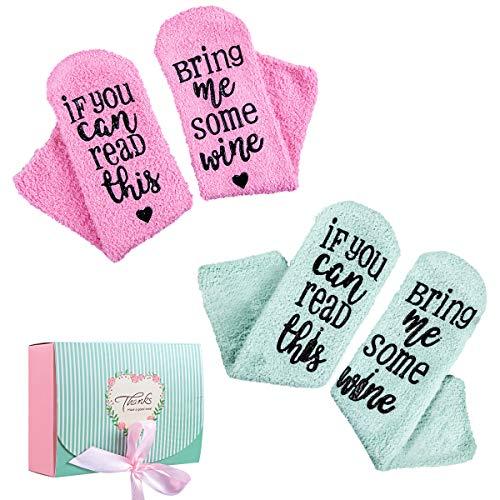 """MELLIEX Lustige Wein Socken, If You Can Read This Bring Me Some Wine"""" Geschenke Socken mit Schönen Geschenkbox für Frauen Weinliebhaber Geburtstags Weihnachten Geschenk"""