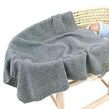 Manta de punto para bebé para niños y niñas, 100 x 30 cm, manta de punto de ganchillo para bebé recién nacido Cochecito Swaddle manta (gris)