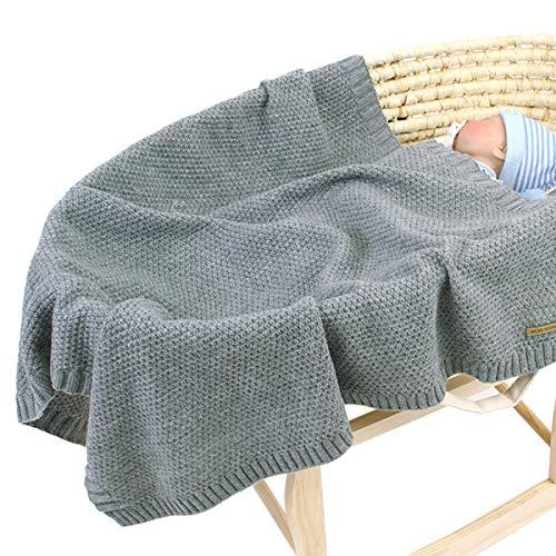 Manta de Punto para bebé para niños y niñas de 40 x 30 Pulgadas, Manta de Ganchillo de Punto para recién Nacido, Manta para Cochecito Gris
