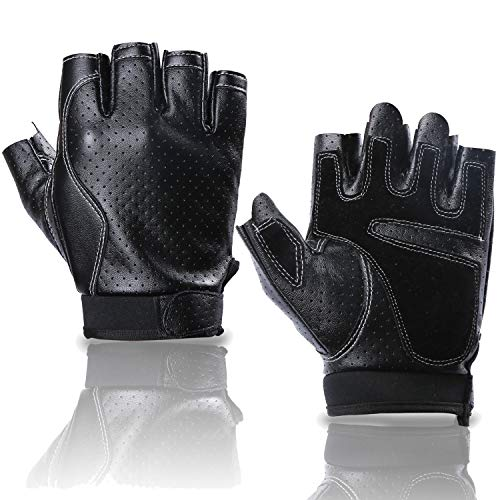 BOBURACN Driving Gloves,Fingerless Glove in Faux Leather,Cycling Gloves for Men Women