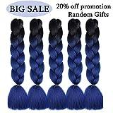 Mychanson 5Pcs 24inch Ombre Jumbo Braiding Hair Extension Synthetic Kanekalon Fiber for Twist Braiding Hair (Black to Dark Blue)