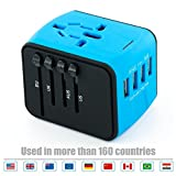 USB Plug Charger 4-Port USB for worldwide travel,international travel plugs with EU,UK,US,AU plugs (blue-4USB)