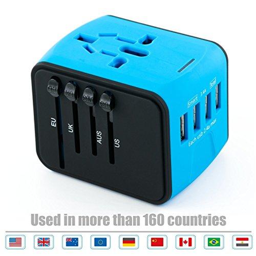 USB Plug Charger 4-Port USB for worldwide travel,international travel plugs with EU,UK,US,AU plugs (blue-4USB)