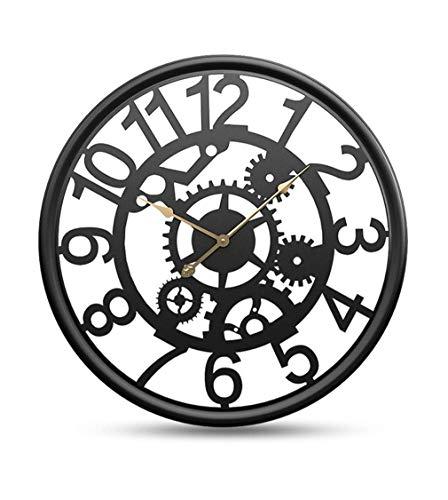 Wall Clock 3D Retro Black Enclosure Metal Hollow Mute Creative Gear Vintage Arabic Numerals Decorative Office Home Decor Wall Clock