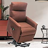 ERGOREAL Power Lift Chair Recliners for Elderly Heat&Massage Electric Recliner Lift for Seniors, Small Lift Recliner Linen Fabric with Remote Control, Motorized Single Sofa-Brown
