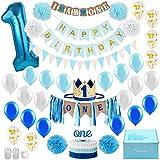 Baby Boy 1st Birthday Decorations WITH Birthday Crown - First Birthday Boy Decorations - Cake Smash...