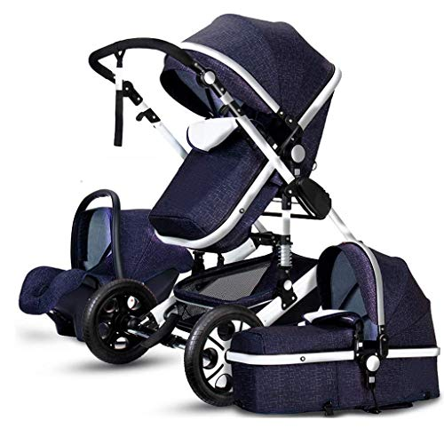 New TZZ 3 in 1 Baby Stroller Travel System Pram from Birth Up to 25 Kg with Safe Five-Point Harness ...