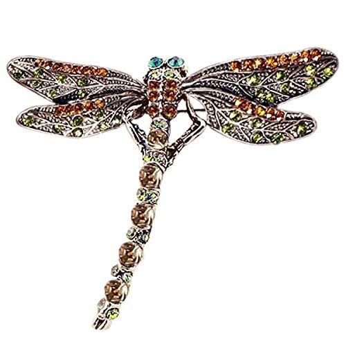 SFFSMD Joyería de la Vendimia de la libélula Precioso Shinny la Bufanda Crystal Pin de la Solapa broches Retro de la Manera Broche de Accesorios de Regalo for Las Mujeres