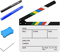 "TYCKA Acrylic Film Clapboard Dry Erase Director 10""x12"" Movie Film Clapper Coating Board Slate with Color Sticks"