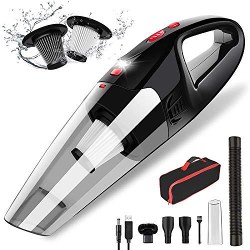 AOKBON Aspiradora de Mano 8500Pa Aspirador para Coche sin Cable Potente con Luz LED en Seco y Húmedo Recargable para Casa y Coche con 2 Filtros Lavables Cepillo
