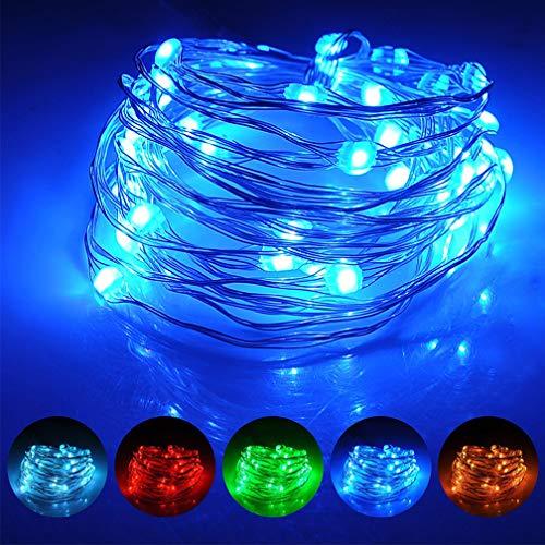 LED Kupferdraht Lichterkette bunt 5M 50Leds Batteriebetrieben 16 Farben, Wasserdicht, RGB flexible Deko Beleuchtung mit Fernbedienung & Timer für Innen,Außen,Hochzeit, Party