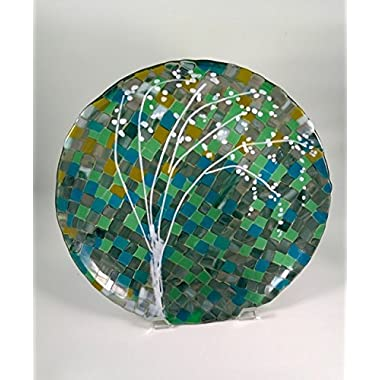 Blue, green and gold mosaic with a white tree fused glass platter