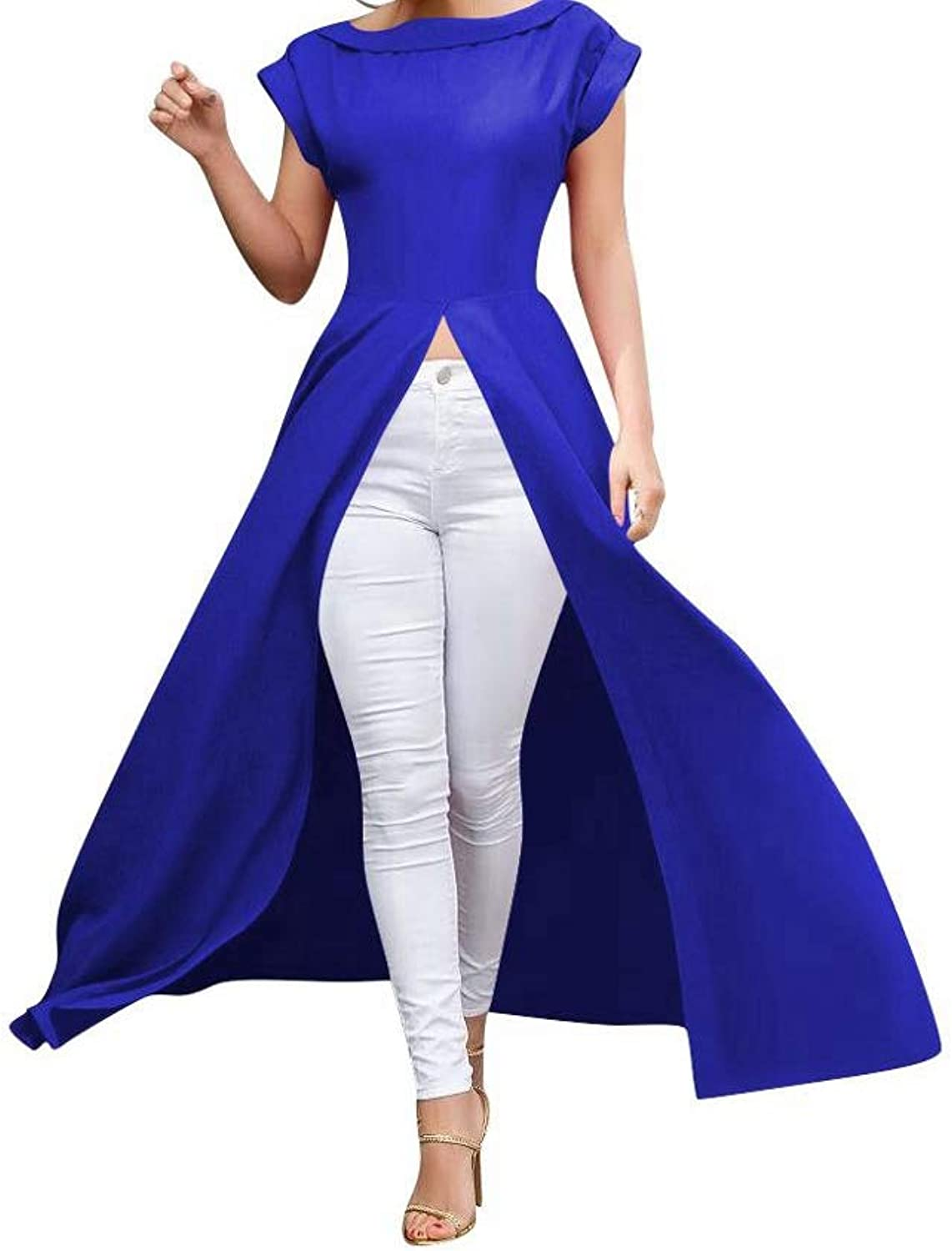 Dress Front High Split Long Tshirt Short Sleeve Women Round Collar ALine XXL