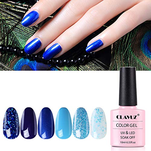 CLAVUZ Gel Nail Polish Set - 6 Pcs Soak Off Nail Art Manicure Varnish Set Gel Nail with Box 10ml, Require LED UV Nail Dryer Lamp
