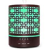 Diffusore di Oli Essenziali, RENWER diffusore in metallo da 300 ml con 7 luci a LED colorate, umidificatore ad ultrasuoni senza acqua con spegnimento automatico per casa / spa / yoga…