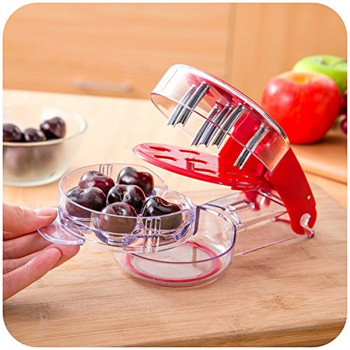 Tkstar Snocciolatore e affettatore per ciliegie, versatile, rimuove facilmente 6 noccioli contemporaneamente