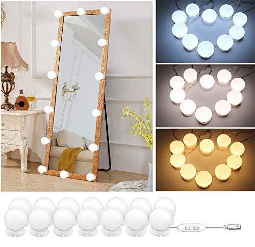 Hollywood Stil Led Spiegelleuchte,14 Dimmbar Schminklicht Spiegellampe,3 Farbmodi 10 Helligkeiten Schminkleuchte,Schminktisch Leuchte,Make Up Licht für Kosmetikspiegel Schminktisch/Badzimmer Spiegel