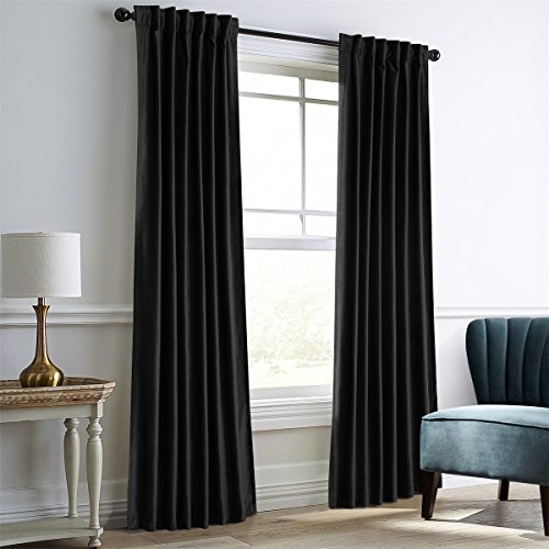 Dreaming Casa Darkening Black Velvet Curtains for Living Room Thermal Insulated Rod Pocket Back Tab Window Curtain for Bedroom 2 Panels 52' W x 108' L