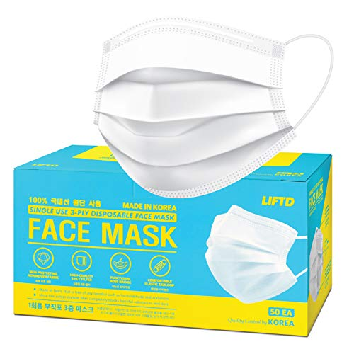 LIFT'D Medical Face Masks - 50 EA, Made in Korea, Super Soft, Odorless, Non Skin Irritation Nonwoven Fabric, Comfortable Elastic Earloop, Protection Covering