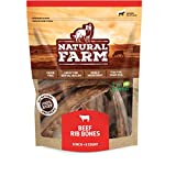 Natural Farm 6-Inch Rib Bones for Dogs (8-Pack) - Beef Ribs for Dogs, Farm-Raised Cattle | Slow-Roasted Flavor | Low Odor for Indoor, Outdoor Chewing | Promotes Dental Health