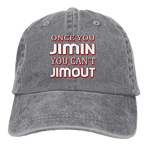 Once You Jimin You Can't Jimout4 Adult Adjustable Printing Cowboy Baseball Hat Ash