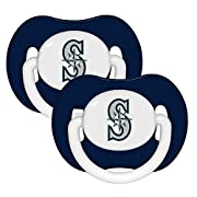 Baby Fanatic's licensed orthodontic pacifiers are decorated with team logo and colors. They feature a silicone nipple and are tested for safety and durability. 3 Mo+ 90%PP/10% silicon To clean, use hot water and mild detergent and rinse thoroughly.