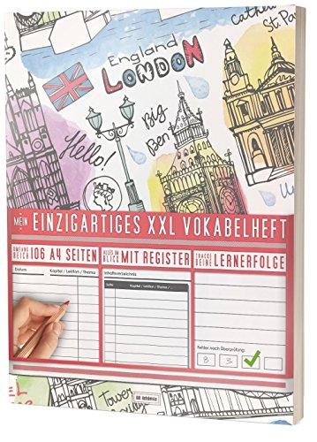 """Mein Einzigartiges XXL Vokabelheft: 100+ Seiten, 2 Spalten, Register / Lernerfolge auf jeder Seite zum Abhaken / PR101 \""""Englisch Stamps\"""" / DIN A4 Softcover"""