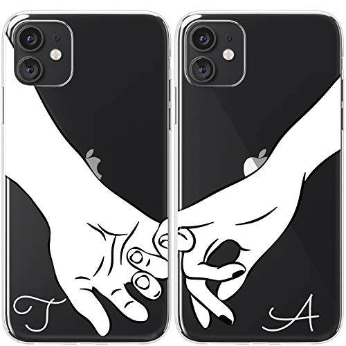 Mertak TPU Couple Cases Compatible with iPhone 12 Pro Max Mini 11 SE Xs Xr 8 Plus 7 6s Monogram Relationship Love Name Holding Hands Boyfriend Best Friend Fingers Silicone Pinky Promise Cute Custom