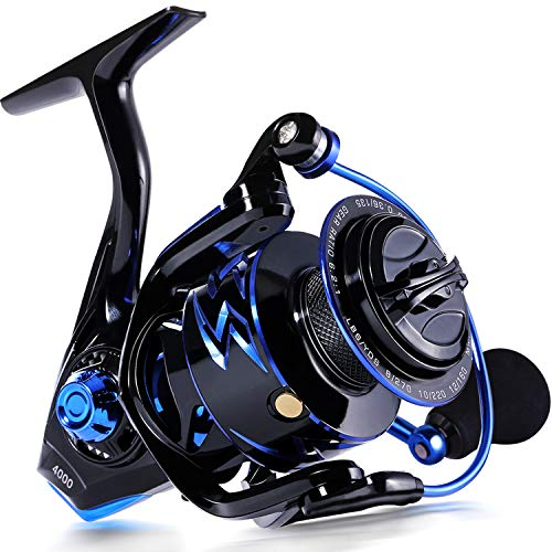 Sougayilang Fishing Reel ,Light Weight Graphite Frame Ice Fishing Reel,6.2: 1 High Speed Gear Ratio,CNC Aluminum Spool,12 + 1BB for Freshwater and Saltwater Fishing Reel(SD-4000-Blue)