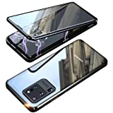 Galaxy S20 Plus 5G Double Sided Tempered Glass Magnetic Case 360° Full Body Magnetic Adsorption Aluminium Alloy Metal Bumper Protection Clear Cover for S20+ 6.7 inch 2020 (Black, Galaxy S20 Plus)