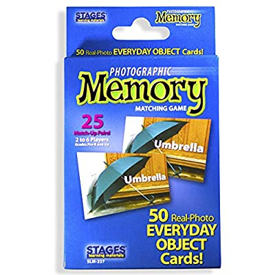Stages Learning Materials Picture Memory Everyday Objects Card Game, Blue, Size 5 x 3