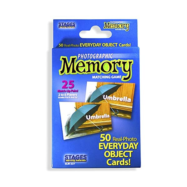 Stages Learning Materials Picture Memory Everyday Objects Card Game, Blue, Size 5...