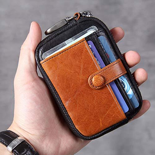 CHANJOON Funda de piel auténtica para llaves de coche, bolsa para llaves, cartera para tarjetas, moneda, llaves, llaves de coche