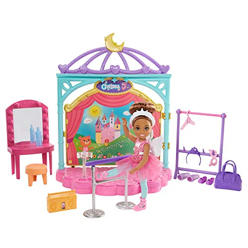 Barbie Club Chelsea Doll and Ballet Playset, 6-inch Brunette, with Transforming Stage, Accessories Including Ballet Barre, Fashion and Accessories, Gift for 3 to 7 Year Olds