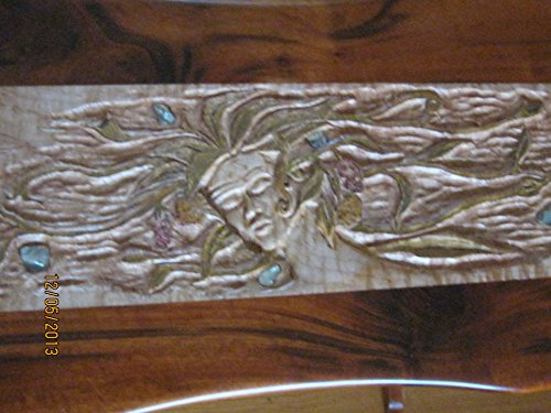 Gaia goddess carved and inlaid hallway table. Original. One of a kind.