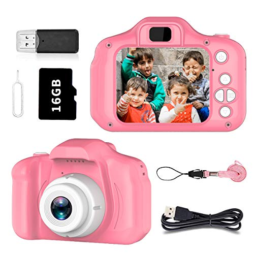 Pussan Toys for 3-6 Year Old Girls Kids Camera HD 1080P Digital Camera for Kids Video Recorder Small Cameras Silicone Soft Cover Camcorder Christmas Birthday Gifts for Children Party Outdoor Play