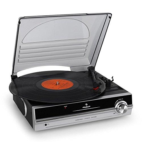 auna TBA-928 - Plattenspieler mit Lautsprecher, Schallplattenspieler, Riemenantrieb, 33/45 U/min, Start-Stopp-Automatik, 3,5 mm-Klinke, Stereo-Cinch-Line-Out, schwarz-silber