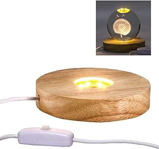 Mintso Wood LED Light Dispaly Base for Laser Crystal Glass Art,4 Inch,Warm Light