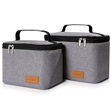 Lifewit Insulated Lunch Box Lunch Bag for Men/Women / Kids, Thermal Bento Bag for Office/School / Picnic, Grey [2 Packs]