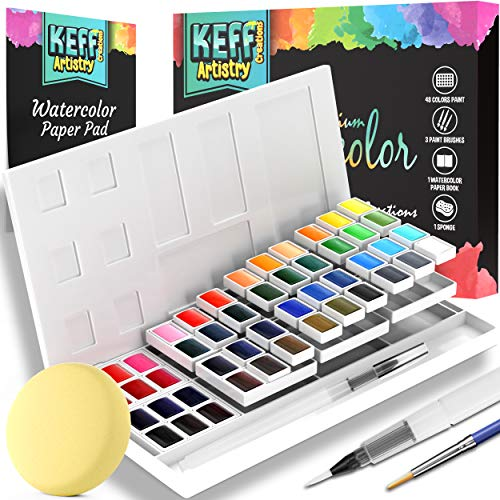 55-Piece Premium Watercolor Paint Set - 2 refillable Watercolor Brushes, Paint Brush, Water Paint Paper pad, Paint Sponge - Painting Supplies for Beginners and Professionals by KEFF Creations