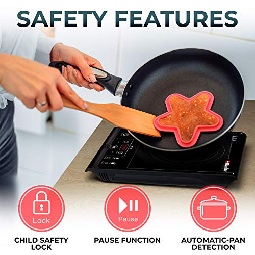 Product Image 4: Mueller RapidTherm Portable Induction Cooktop Hot Plate Countertop Burner 1800W, 8 Temp Levels, Timer, Auto-Shut-Off, Touch Panel, LED Display, Auto Pot Detection, Child Safety Lock, 4 Preset Programs