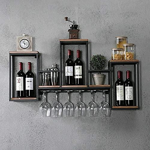 Talleres de vino Talleres de vino Montado en la pared Montado de madera Estante vintage Estante creativo Restaurante decorativo Vino Copa de vino Rack CLIMA DE VINO PARA LA BARRA 106 x 20 x 50 cm