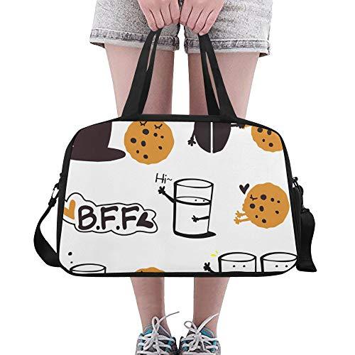 Yushg Glas süße Milch und Keks Keks benutzerdefinierte große Yoga Gym Totes Fitness Handtaschen Reise Seesäcke mit Schultergurt Schuhbeutel für Übung Sport Gepäck für Mädchen Mens Womens Outdoor
