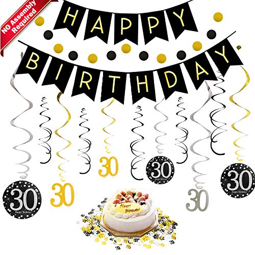 30th Birthday Decorations Kit for Men & Women 30 Years Old Party, NO Assembly Required - Black Gold Happy Birthday Banner, Hanging Swirls, Circle Dots Hanging Decoration, Number 30 Table Confetti